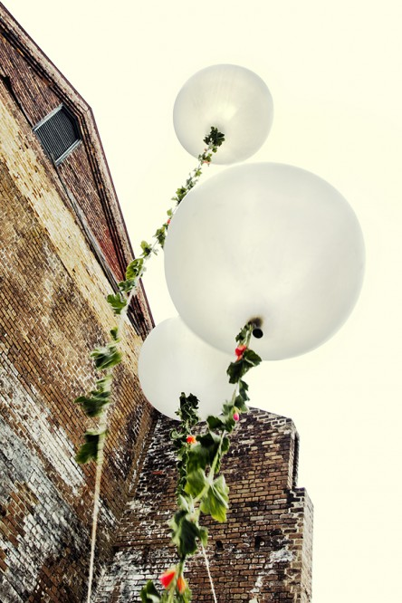 Grey Balloons with Flower Tails