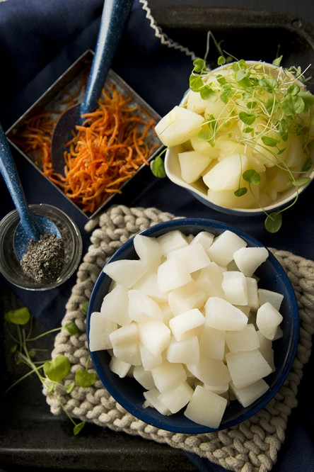 Warm Daikon, Apple and Carrot Salad (Brenda Anderson, Chia Chong and Libbie Summers for Salted and Styled)