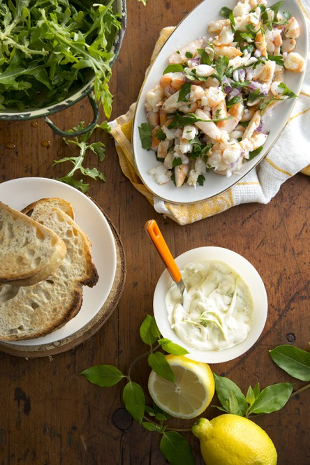 Shrimp Salad Sandwich with Honeysuckle Mayonnaise (Libbie Summers and Chia Chong for Salted and Styled)