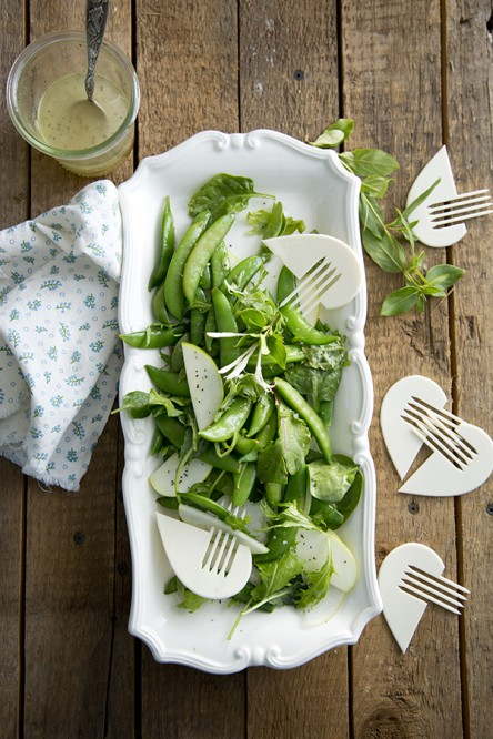 Honeysuckle Dressed Sugar Snap Pea Salad (Libbie Summers and Chia Chong for Salted and Styled)
