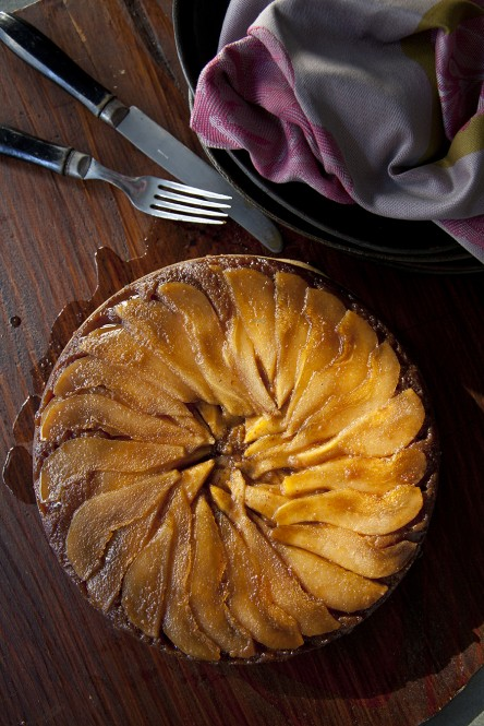 Pear Upside-down Skillet Corn Cake (from Sweet and Vicious by Libbie Summers, photography by Chia Chong)