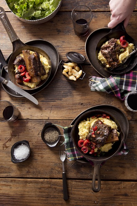 Cherry Short Ribs over Garlic Cheesy Grits (Libbie Summers and Chia Chong for Salted and Styled)